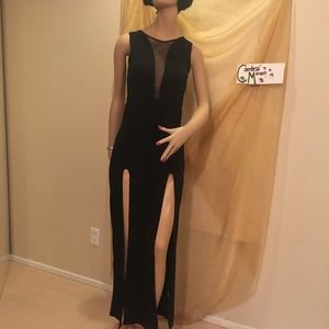Long dress with sheer neckline and high slits